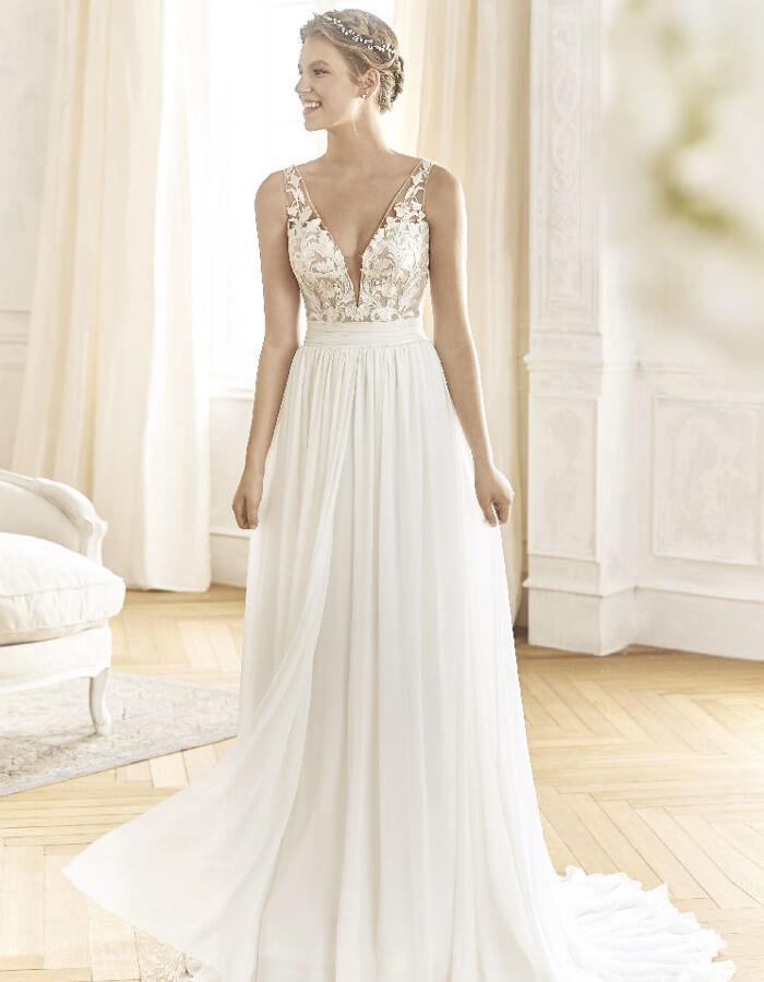 L eleganza eterea degli abiti A-line. I vestiti da sposa ... 7d760a167ff